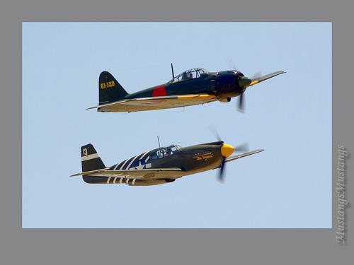 "North American P-51 mustango, mustang & Mitsubishi A6M Zero ""Zeke"""