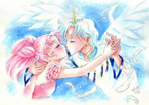 Sailor Mini moon (Rini) Hintergrund probably with a rose and Anime entitled Helios and Chibiusa