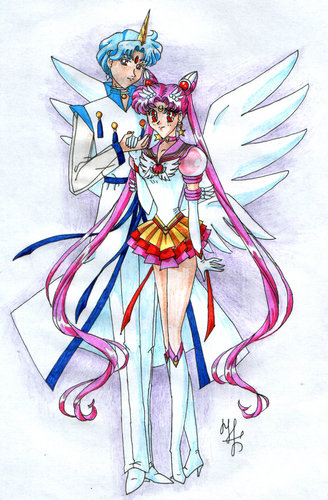 Sailor Mini moon (Rini) wallpaper probably containing anime titled Helios and Chibiusa