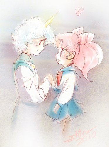 Sailor Mini moon (Rini) Hintergrund called Helios and Chibiusa