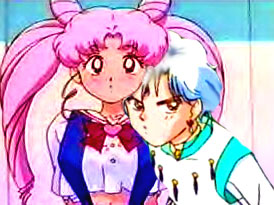 Sailor Mini moon (Rini) wallpaper containing animê titled Helios and Chibiusa