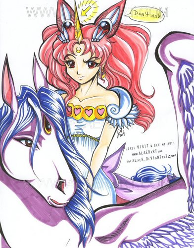 Sailor Mini moon (Rini) দেওয়ালপত্র with জীবন্ত called Helios and Chibiusa