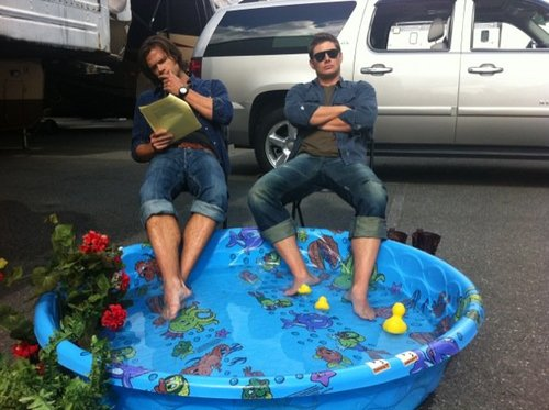 Jared and Jensen learning their lines...