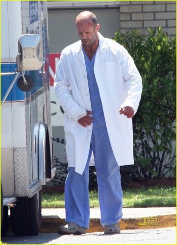 Jason Statham: Hospital scrubs for 'Parker'