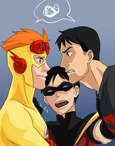 Kid Flash + Robin fondo de pantalla probably with anime called Jealous much?
