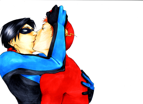 Kid Flash + Robin fondo de pantalla entitled kiss me~