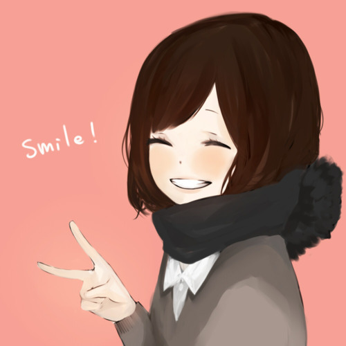 anime Girls achtergrond entitled Smile;