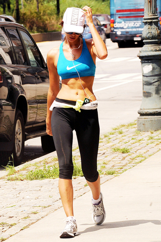 Spotted Working Out in a Sports Bra in New York 08 08 2011