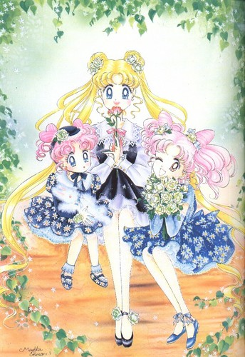 Sailor Mini moon (Rini) দেওয়ালপত্র called Usagi and Chibiusa