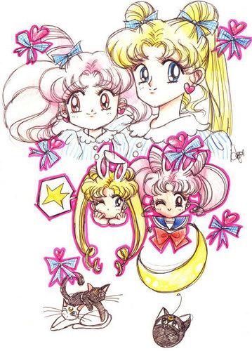 Sailor Mini moon (Rini) wallpaper called Usagi and Chibiusa