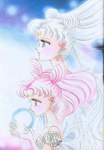 Sailor Mini moon (Rini) wallpaper possibly containing anime entitled Usagi and Chibiusa