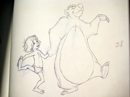 Walt Disney animation - Mowgli & Baloo