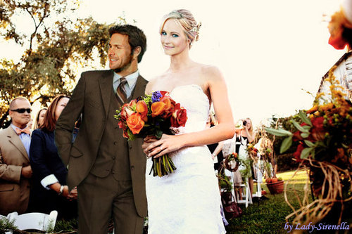 Wedding day. (Bride's escort isn't her father, but Alaric)