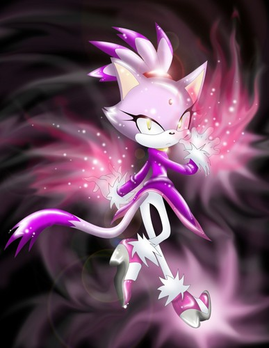 Blaze the Cat achtergrond probably with an orchid, a foxglove, and a hedgehog cactus called blaze