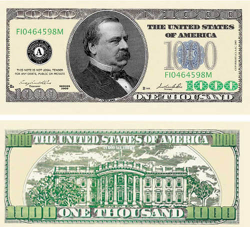 Money achtergrond entitled $1000 dollar bill