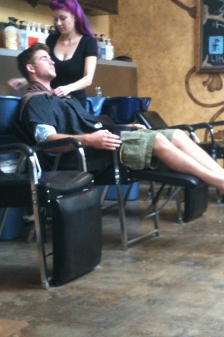 18. August- At a Salon Miley with Liam
