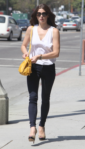 Ashley Greene wallpaper with a street, a carriageway, and a pelican crossing entitled Candids: Ashley out & about in LA (August 18)
