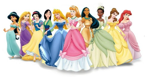 Disney Princess Line-Up with Cinderella in a Pink dress