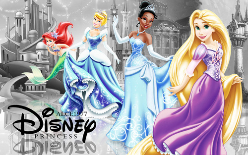 Disney Princesses Sparkly metalic dresses