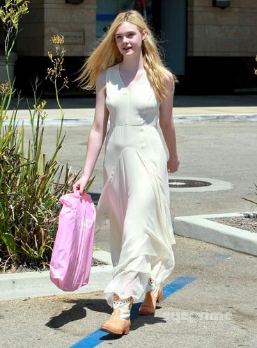 Elle Fanning shops at Nordstrom in Beverly Hills, August 17