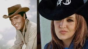 Elvis Aaron Presley and Lisa Marie Presley wolpeyper with a snap brim hat, a campaign hat, and a fedora titled Elvis and Lisa