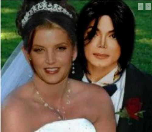 Michael Jackson and Lisa Marie wallpaper possibly containing a bridesmaid and a portrait titled Fake but beautiful
