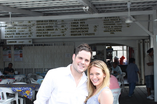 Hilary Duff & Mike Comrie 바탕화면 probably with a 거리 and a business suit called Hilary & Mike