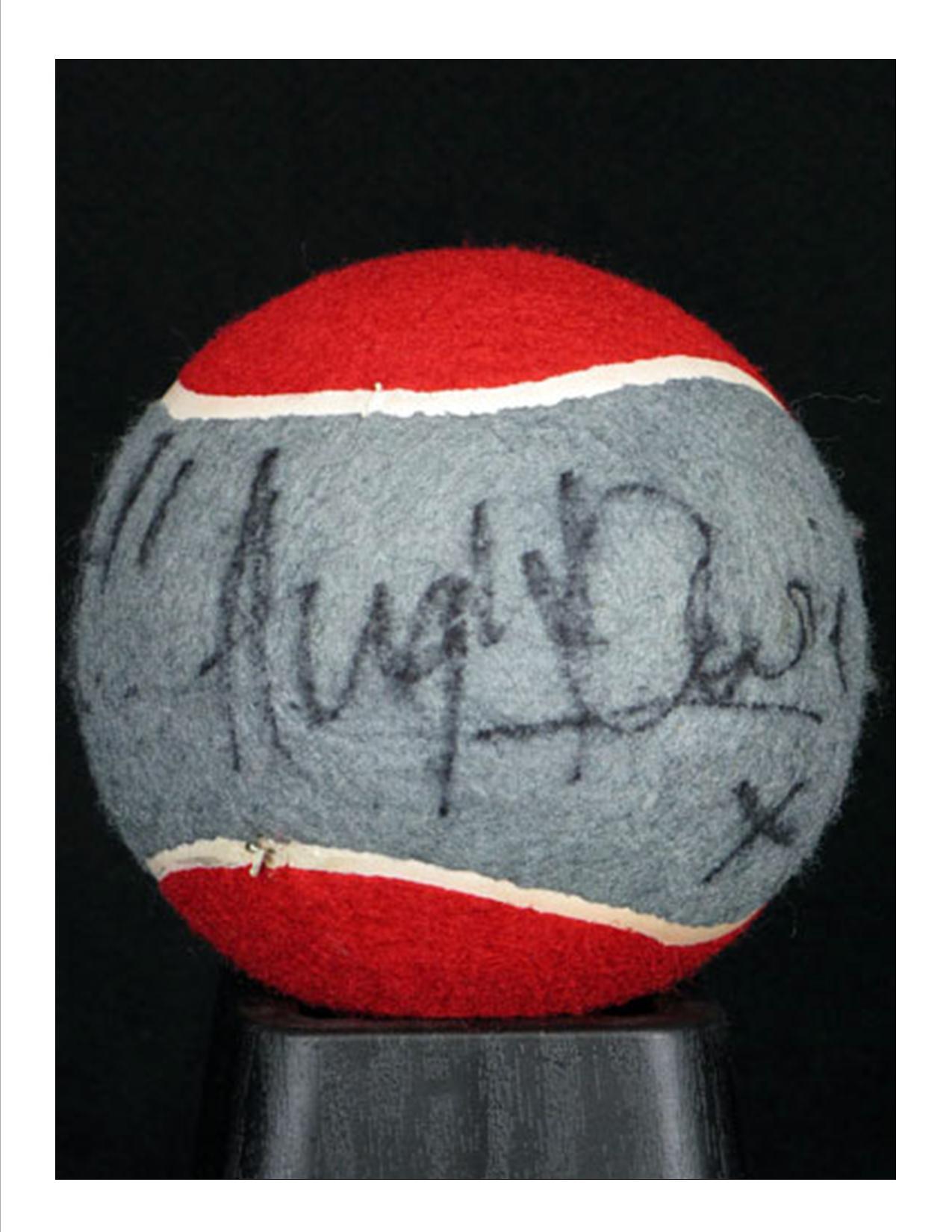 Hugh autographs House Tennis ball
