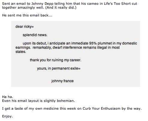 JD email 2 Ricky Gervais