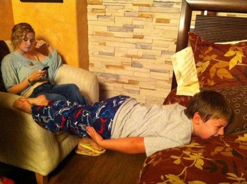 Jackson planking on set