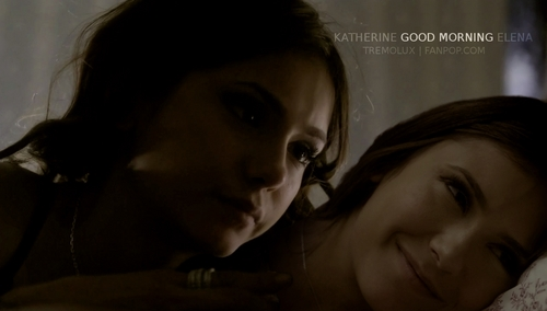 """Katherine Pierce and Elena Gilbert wallpaper probably with a portrait called Katherine & Elena - """"Good Morning"""""""