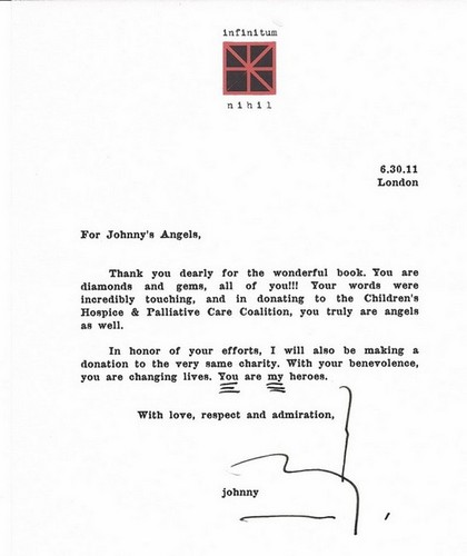 Letter to Johnnysangels.org