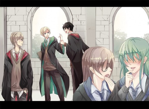 Harry Potter Anime wallpaper called Harry and Malfoy