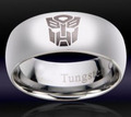 Mens Tungsten Transformers Autobot Ring