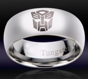 Transformers karatasi la kupamba ukuta entitled Mens Tungsten Transformers Autobot Ring