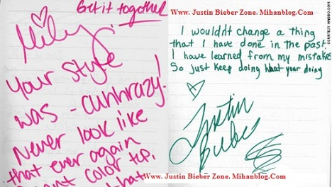Miley`s hand writing!