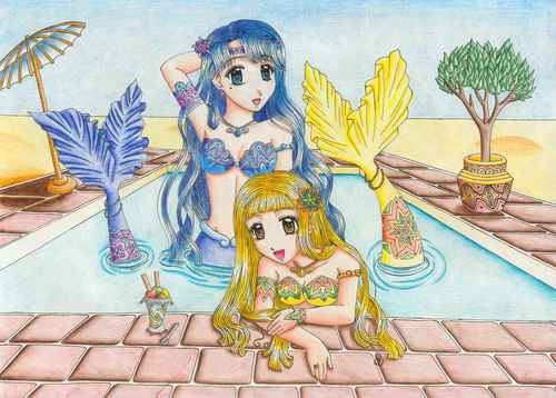 Noel, Mermaid Melody 壁紙 with アニメ called Noel & Coco