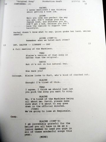 Glee wallpaper called Original Song Deleted Rachel & Quinn Scenes Script, Page 3