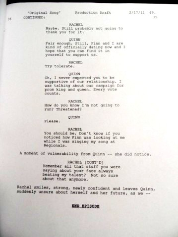Original Song Deleted Rachel & Quinn Scenes Script, Page 5