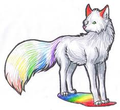 Wolves wallpaper entitled Rainbow Wolf