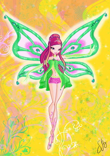 the winx club wallpaper probably containing a paisley entitled Roxy in Enchantix