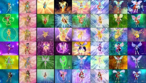 o clube das winx wallpaper possibly containing a stained glass window titled Winx Club All transformations
