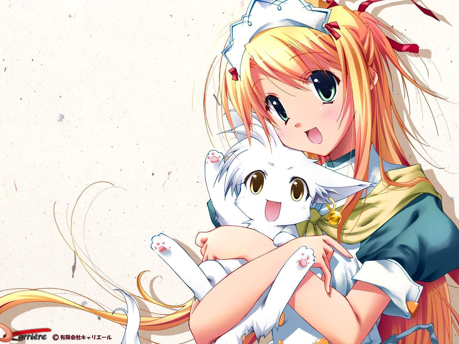 Anime girl with cat kitten star light wallpaper - Anime cat wallpaper ...