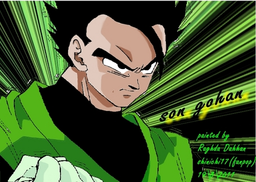 dragon ball z wallpaper containing animê titled son gohan painted por shinichi17