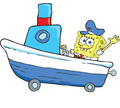 songebob in a boat