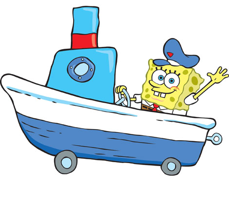 songebob in a नाव