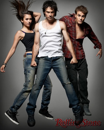 The Vampire Diaries TV toon achtergrond containing a jean entitled tvd cast rolling stone photoshoot