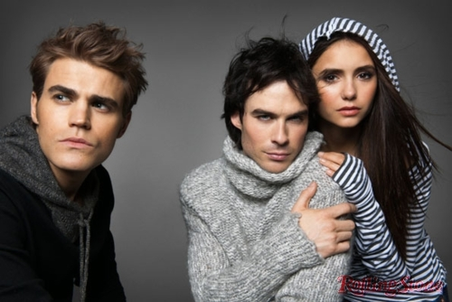the vampire diaries série de televisão wallpaper probably containing a portrait called tvd cast rolling stone photoshoot