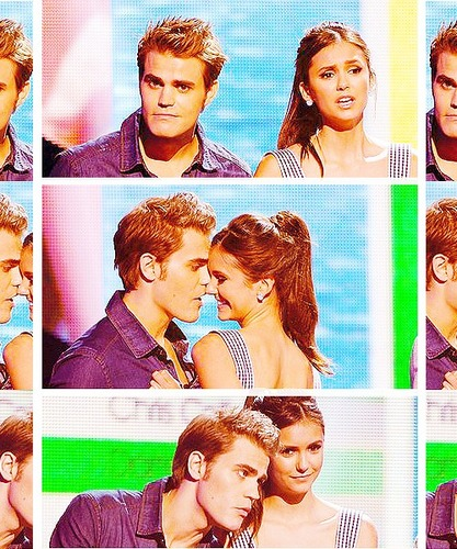 Paul Wesley and Nina Dobrev پیپر وال containing a portrait entitled ♥ Hi Nina ... ارے Baby! ... گھاس, ہے Paul! ♥