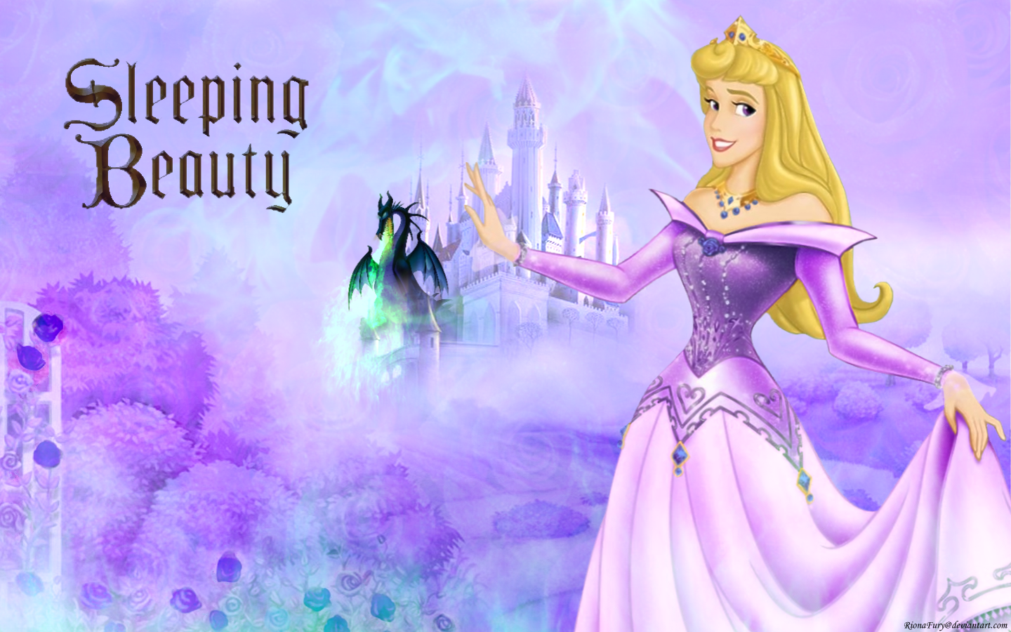 Disney Princess Aurora in purple